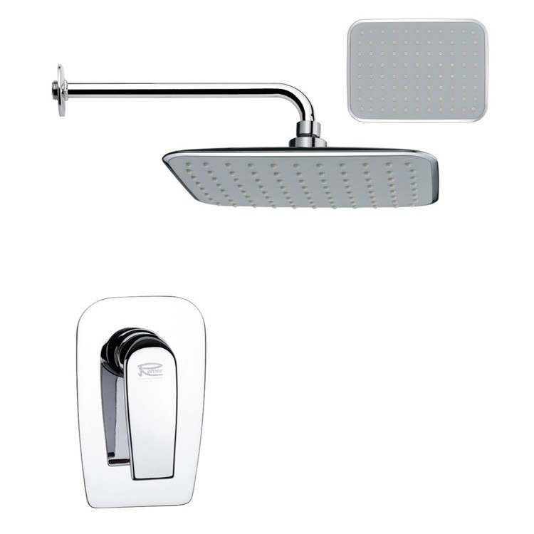 REMER SS1158 MARIO RECTANGULAR CONTEMPORARY SHOWER FAUCET SET IN CHROME
