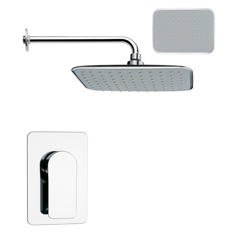 REMER SS1159 MARIO RECTANGULAR CONTEMPORARY SHOWER FAUCET SET IN CHROME