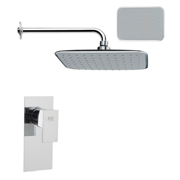 REMER SS1160 MARIO RECTANGULAR CONTEMPORARY SHOWER FAUCET SET IN CHROME