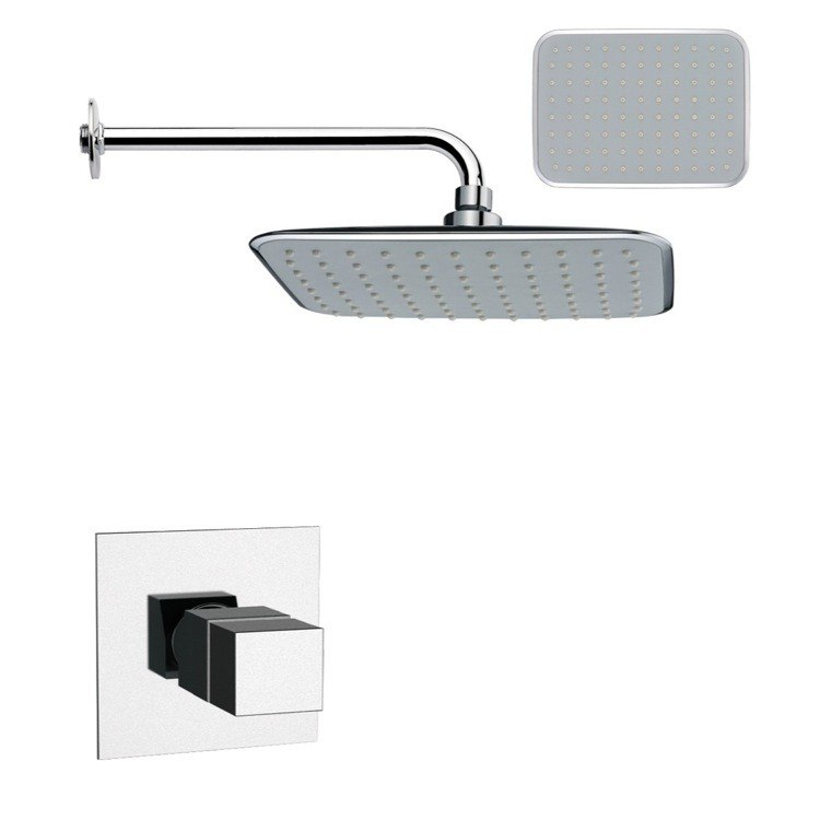 REMER SS1161 MARIO RECTANGULAR CONTEMPORARY SHOWER FAUCET SET IN CHROME
