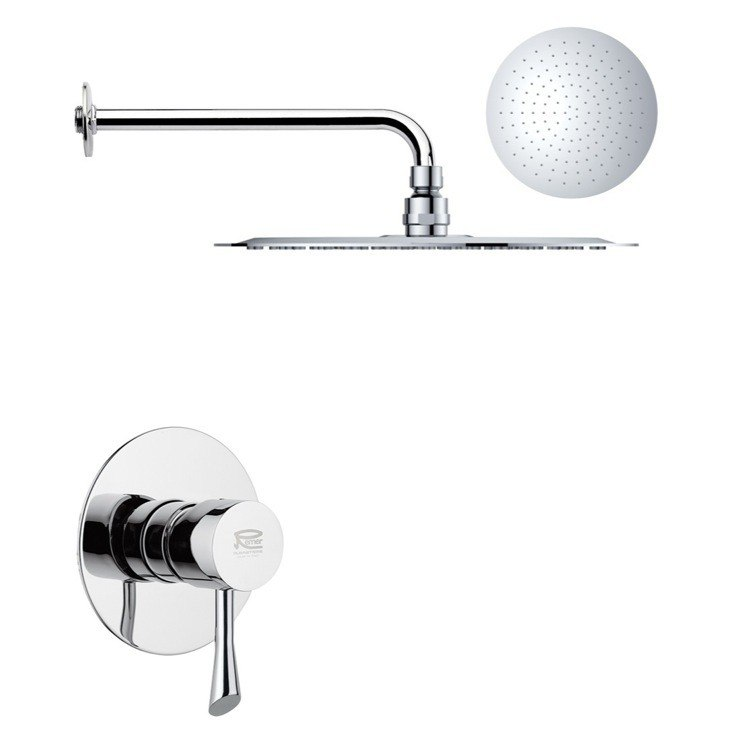 REMER SS1163 MARIO ROUND ONE-WAY SHOWER FAUCET SET WITH POLISHED CHROME FINISH
