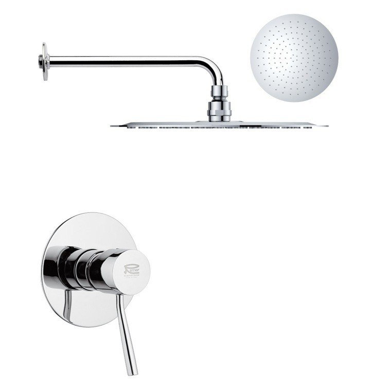 REMER SS1164 MARIO ROUND ONE-WAY SHOWER FAUCET SET WITH POLISHED CHROME FINISH