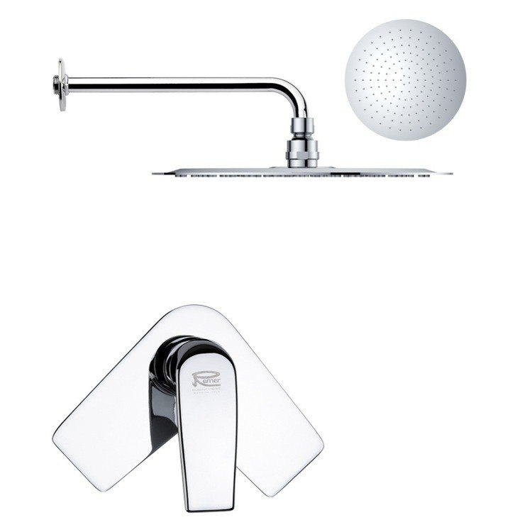 REMER SS1166 MARIO ROUND ONE-WAY SHOWER FAUCET SET WITH POLISHED CHROME FINISH