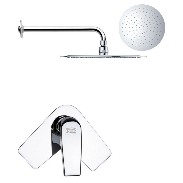 REMER SS1167 MARIO ROUND ONE-WAY SHOWER FAUCET SET WITH POLISHED CHROME FINISH