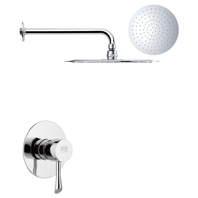REMER SS1168 MARIO ROUND ONE-WAY SHOWER FAUCET SET WITH POLISHED CHROME FINISH