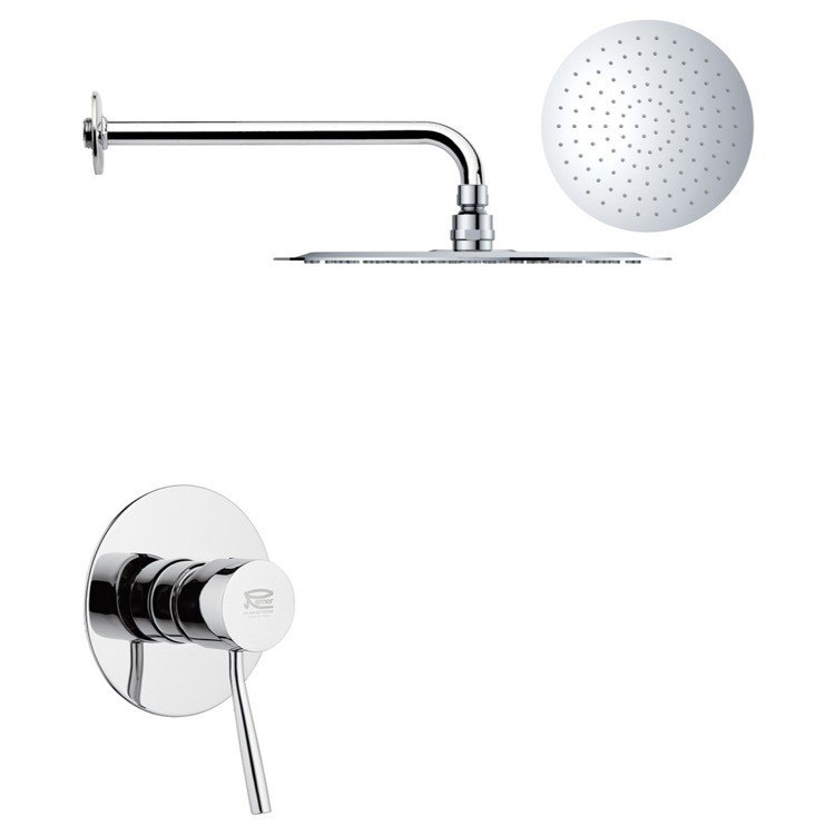 REMER SS1169 MARIO ROUND ONE-WAY SHOWER FAUCET SET WITH POLISHED CHROME FINISH