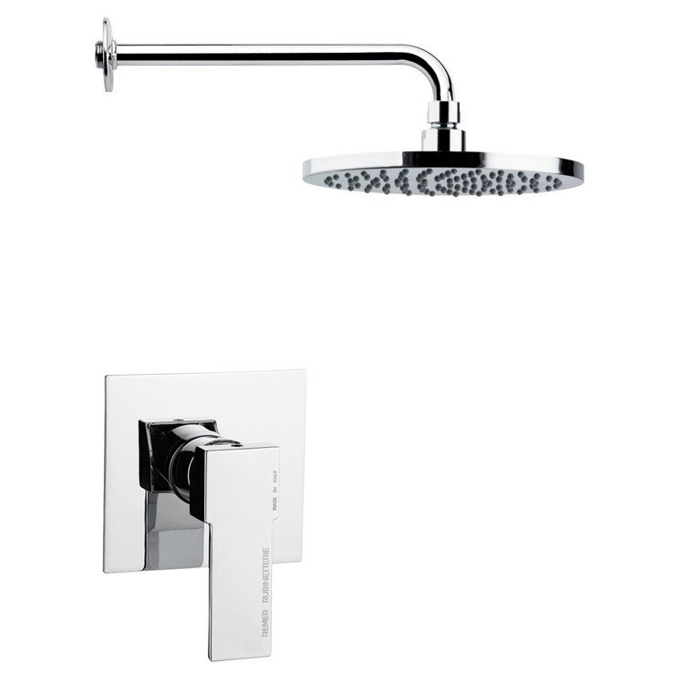 REMER SS1172 MARIO ROUND ONE-WAY SHOWER FAUCET SET IN POLISHED CHROME
