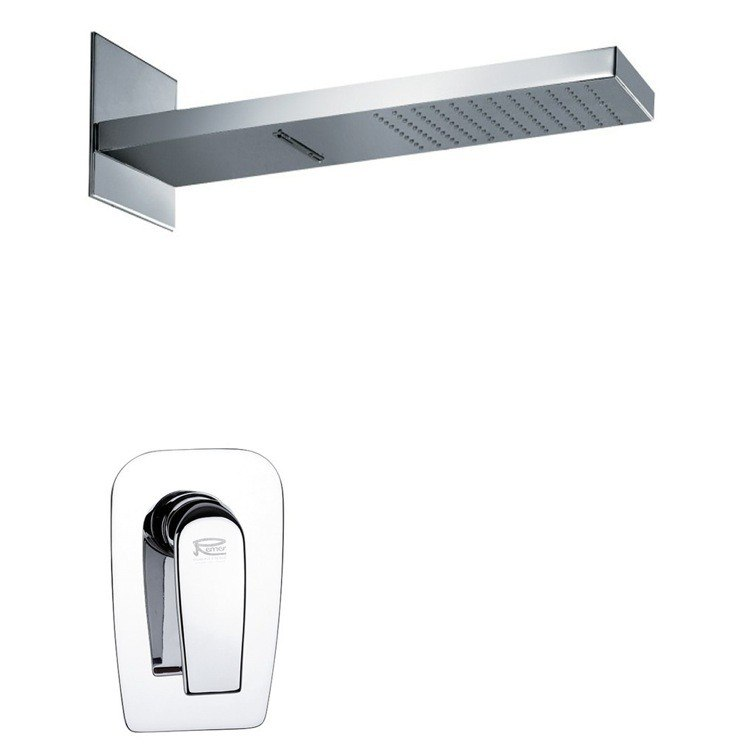 REMER SS1177 MARIO MODERN RECTANGULAR SHOWER FAUCET SET IN POLISHED CHROME