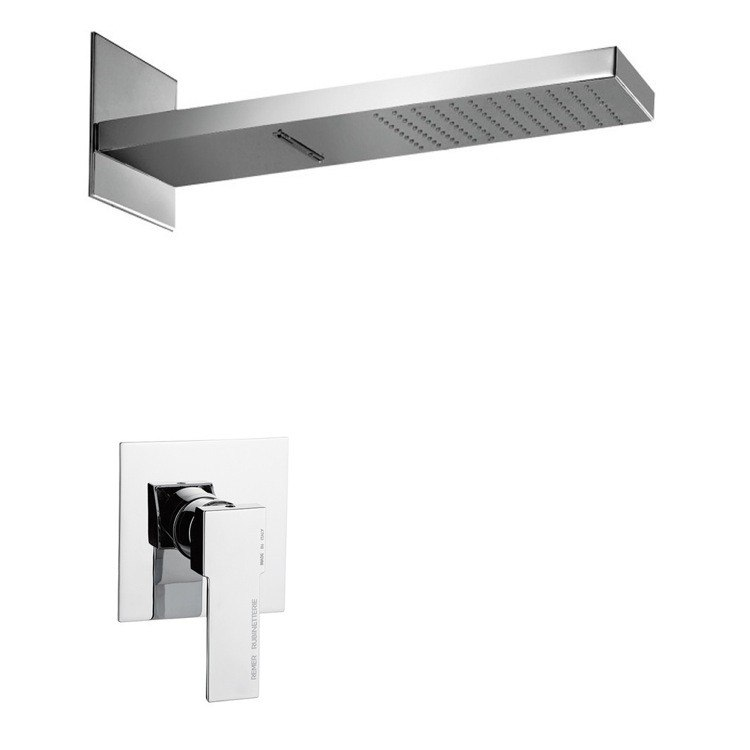 REMER SS1179 MARIO MODERN RECTANGULAR SHOWER FAUCET SET IN POLISHED CHROME