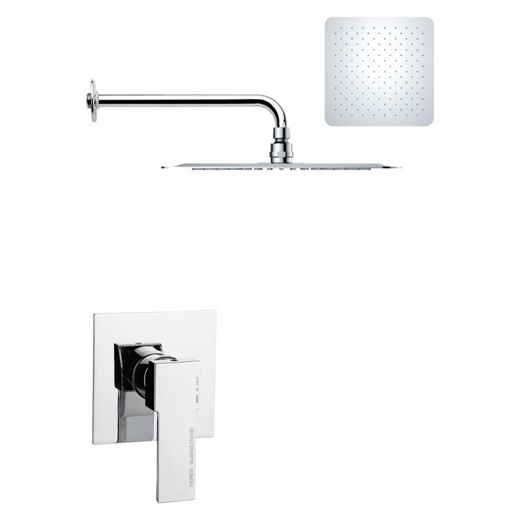 REMER SS1180 MARIO MODERN SQUARE SHOWER FAUCET SET IN POLISHED CHROME