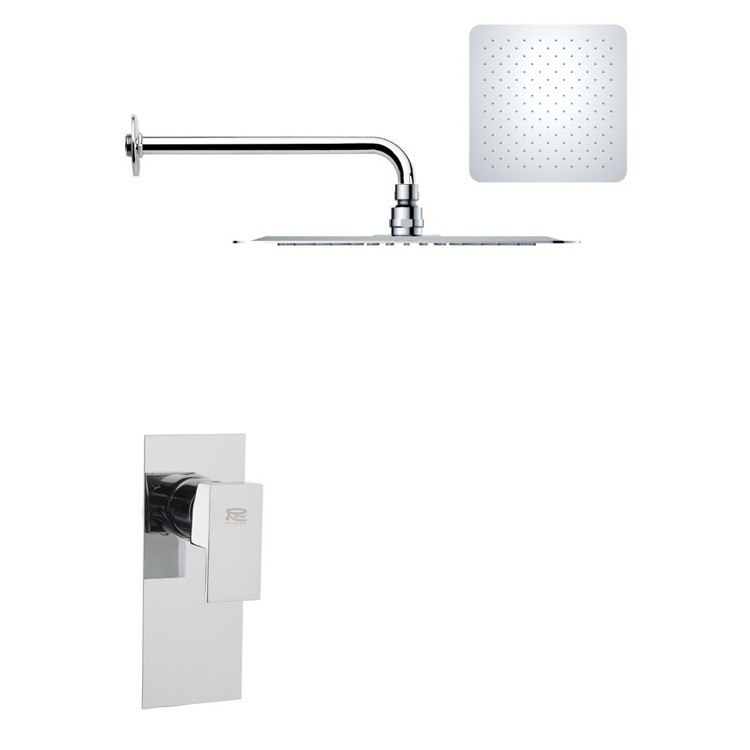REMER SS1181 MARIO MODERN SQUARE SHOWER FAUCET SET IN POLISHED CHROME