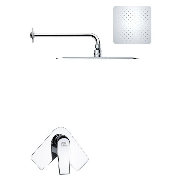REMER SS1182 MARIO MODERN SQUARE SHOWER FAUCET SET IN POLISHED CHROME