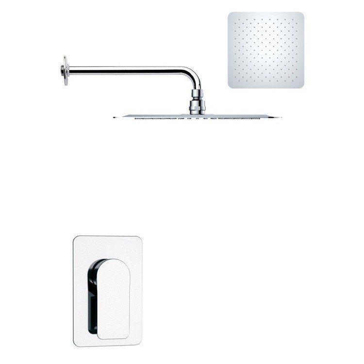 REMER SS1183 MARIO MODERN SQUARE SHOWER FAUCET SET IN POLISHED CHROME
