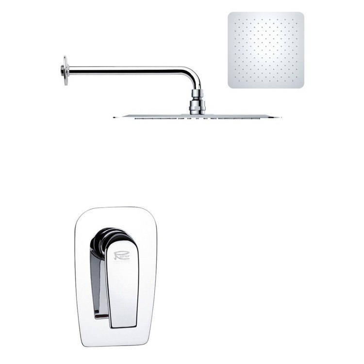 REMER SS1184 MARIO MODERN SQUARE SHOWER FAUCET SET IN POLISHED CHROME