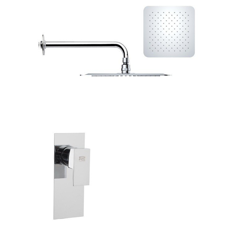 REMER SS1185 MARIO MODERN SQUARE SHOWER FAUCET SET IN POLISHED CHROME