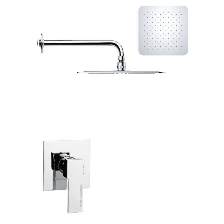 REMER SS1186 MARIO MODERN SQUARE SHOWER FAUCET SET IN POLISHED CHROME