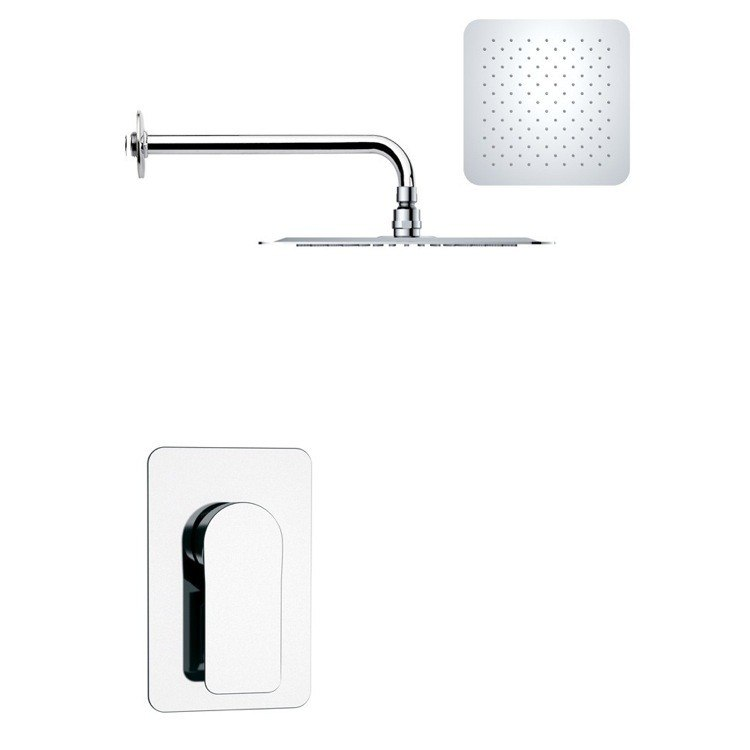 REMER SS1187 MARIO MODERN SQUARE SHOWER FAUCET SET IN POLISHED CHROME