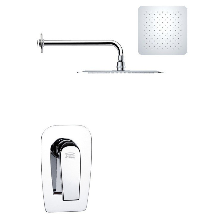 REMER SS1188 MARIO MODERN SQUARE SHOWER FAUCET SET IN POLISHED CHROME