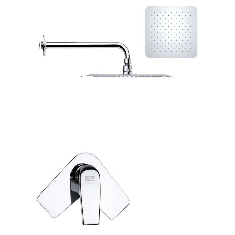 REMER SS1189 MARIO MODERN SQUARE SHOWER FAUCET SET IN CHROME