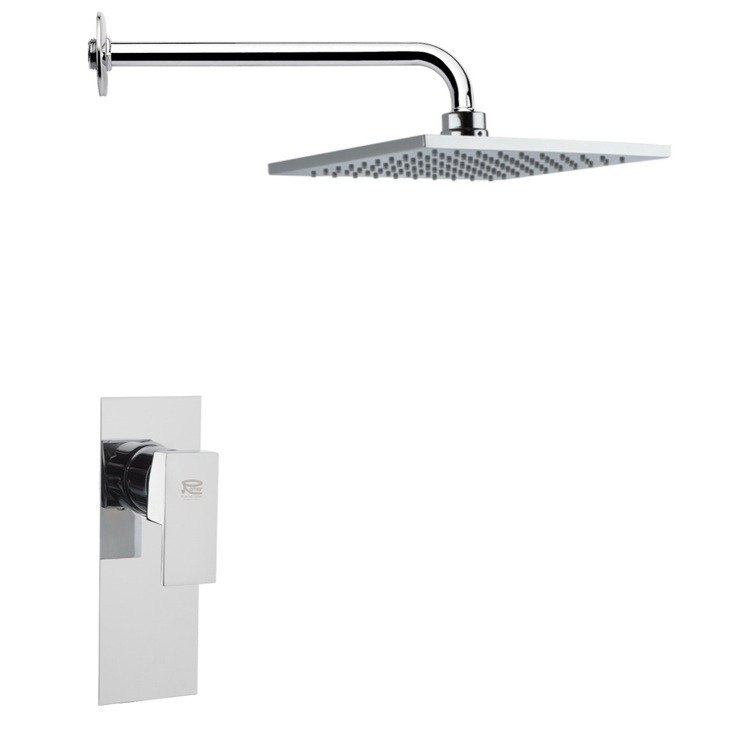 REMER SS1190 MARIO MODERN SQUARE SHOWER FAUCET SET IN CHROME