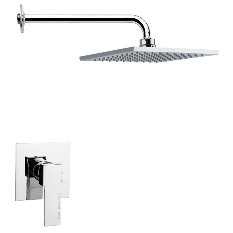 REMER SS1191 MARIO MODERN SQUARE SHOWER FAUCET SET IN POLISHED CHROME