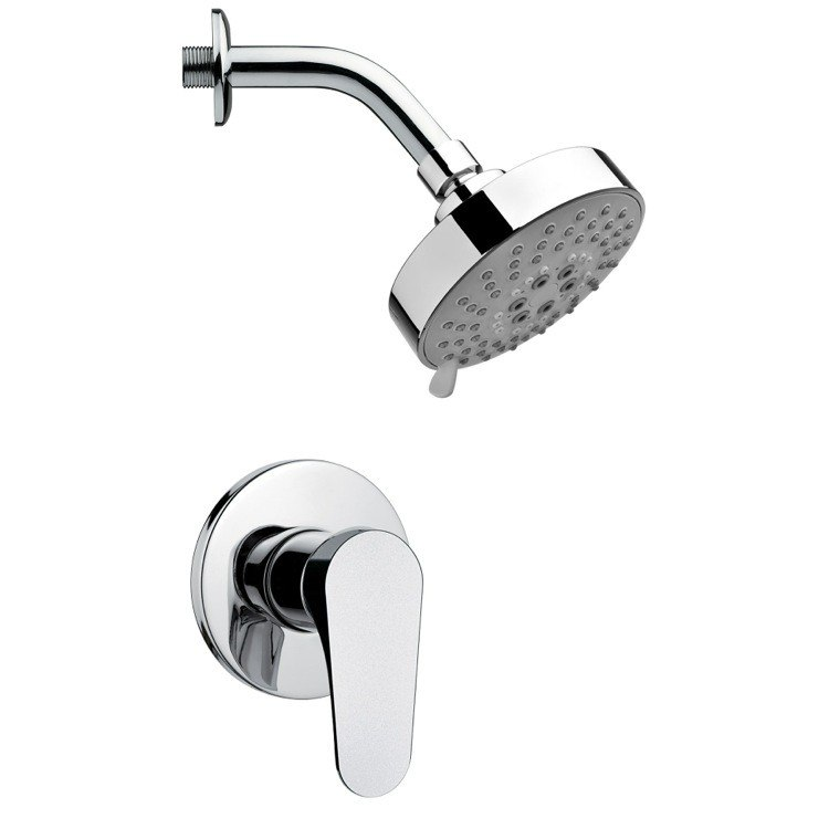 REMER SS1204 MARIO POLISHED CHROME ROUND SHOWER FAUCET SET