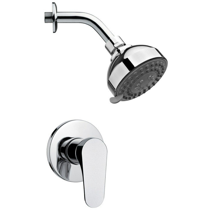 REMER SS1205 MARIO ROUND SHOWER FAUCET SET IN POLISHED CHROME WITH LEVER