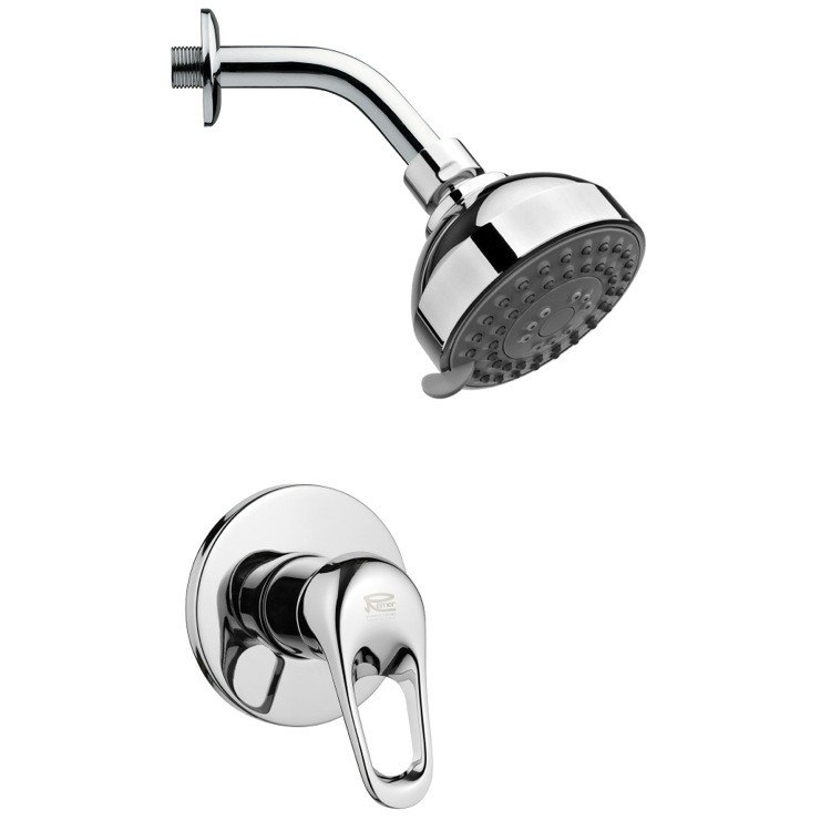 REMER SS1206 MARIO ROUND SHOWER FAUCET SET IN POLISHED CHROME WITH LEVER