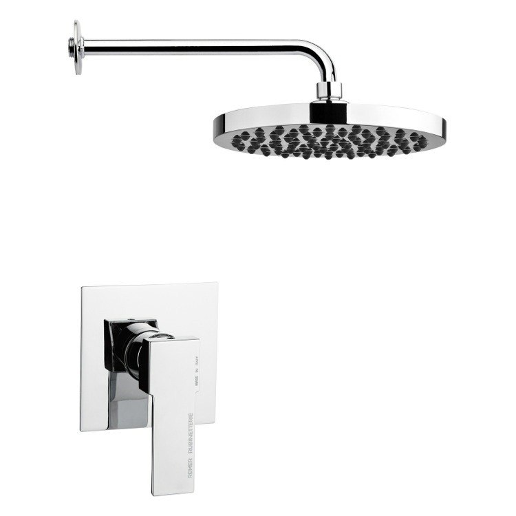 REMER SS1210 MARIO ROUND SHOWER FAUCET SET IN POLISHED CHROME WITH LEVER