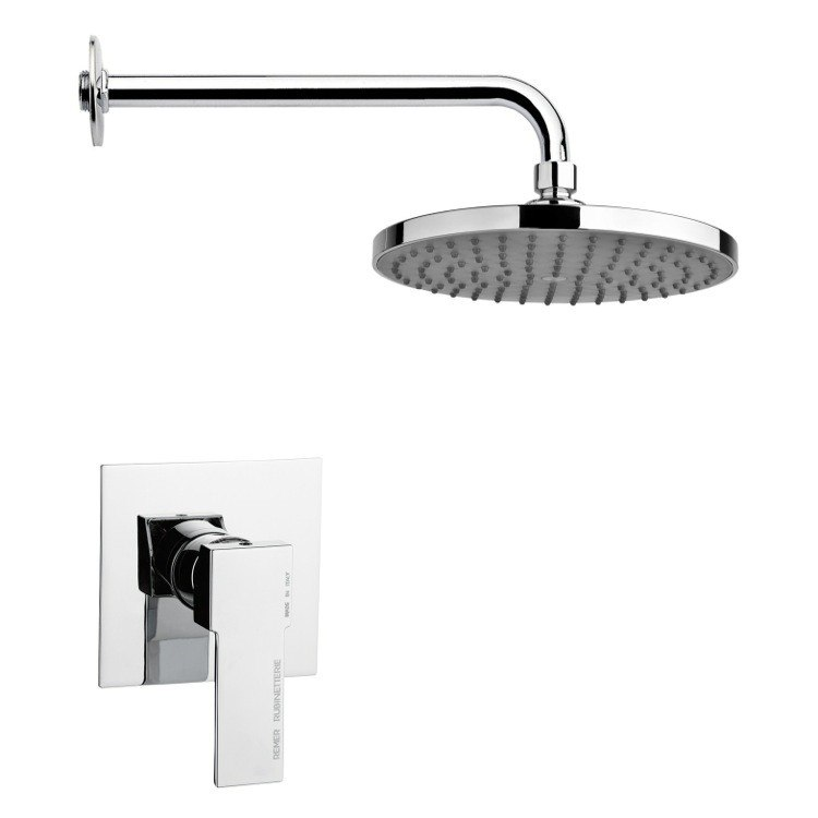 REMER SS1217 MARIO ROUND SHOWER FAUCET SET IN POLISHED CHROME WITH LEVER