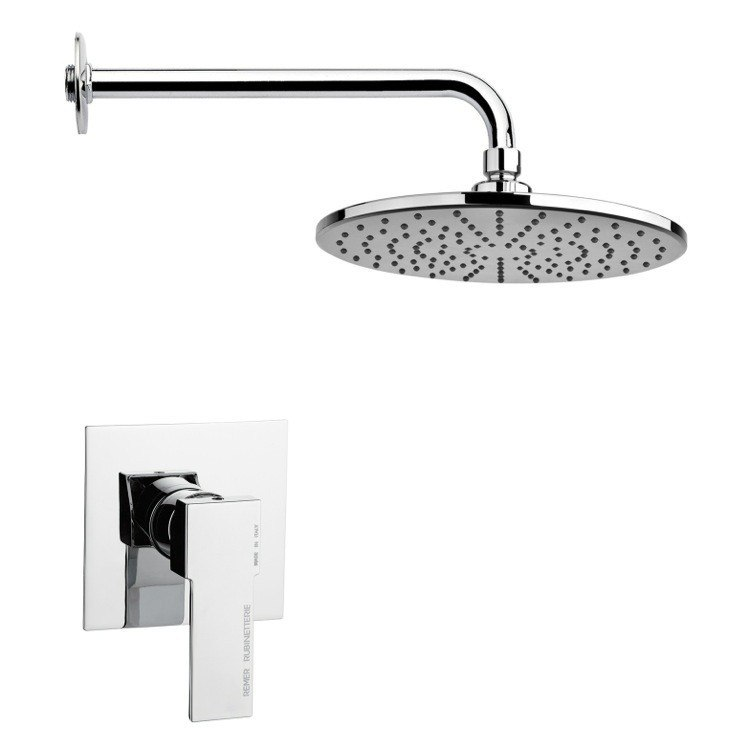 REMER SS1218 MARIO ROUND LEVER SHOWER FAUCET SET IN POLISHED CHROME