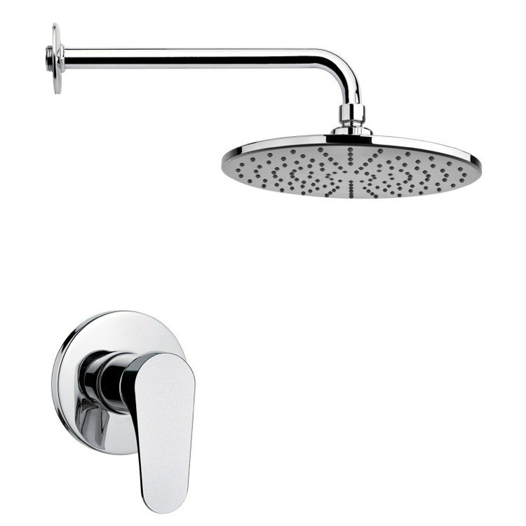 REMER SS1219 MARIO ROUND LEVER SHOWER FAUCET SET IN POLISHED CHROME