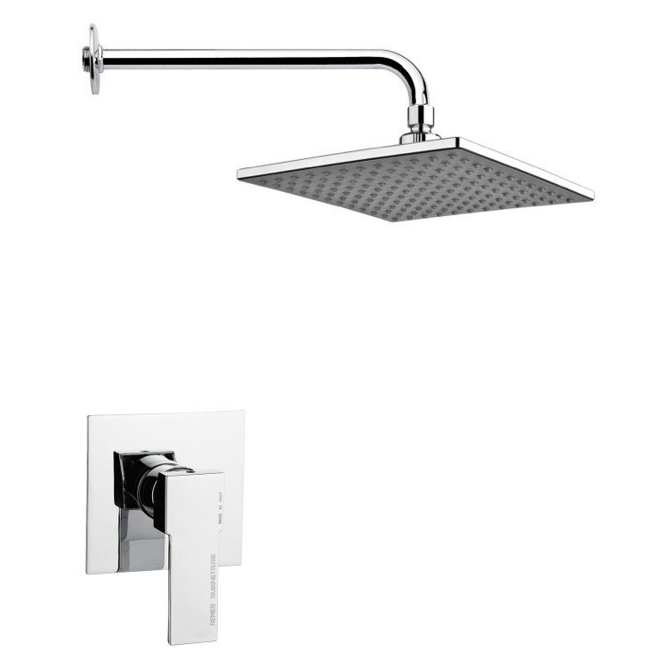 REMER SS1223 MARIO SQUARE LEVER SHOWER FAUCET SET IN POLISHED CHROME