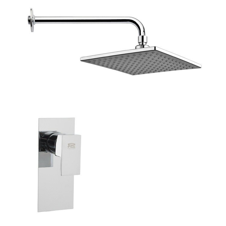 REMER SS1224 MARIO SQUARE LEVER SHOWER FAUCET SET IN POLISHED CHROME