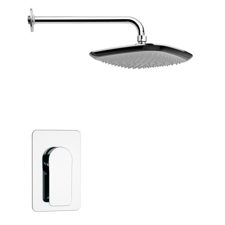 REMER SS1226 MARIO SQUARE LEVER SHOWER FAUCET SET IN POLISHED CHROME