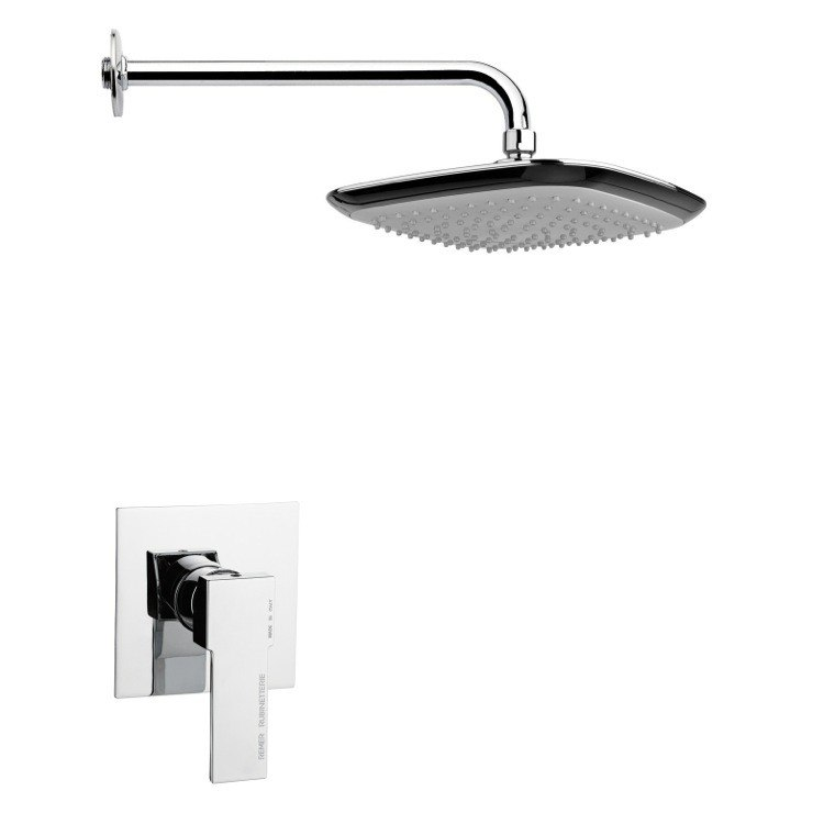 REMER SS1228 MARIO SQUARE LEVER SHOWER FAUCET SET IN POLISHED CHROME