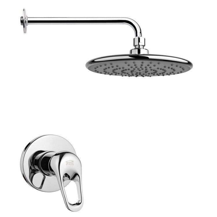 REMER SS1230 MARIO ROUND MODERN SHOWER FAUCET SET IN POLISHED CHROME