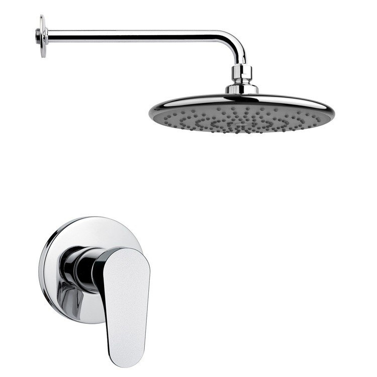 REMER SS1231 MARIO ROUND MODERN SHOWER FAUCET SET IN POLISHED CHROME