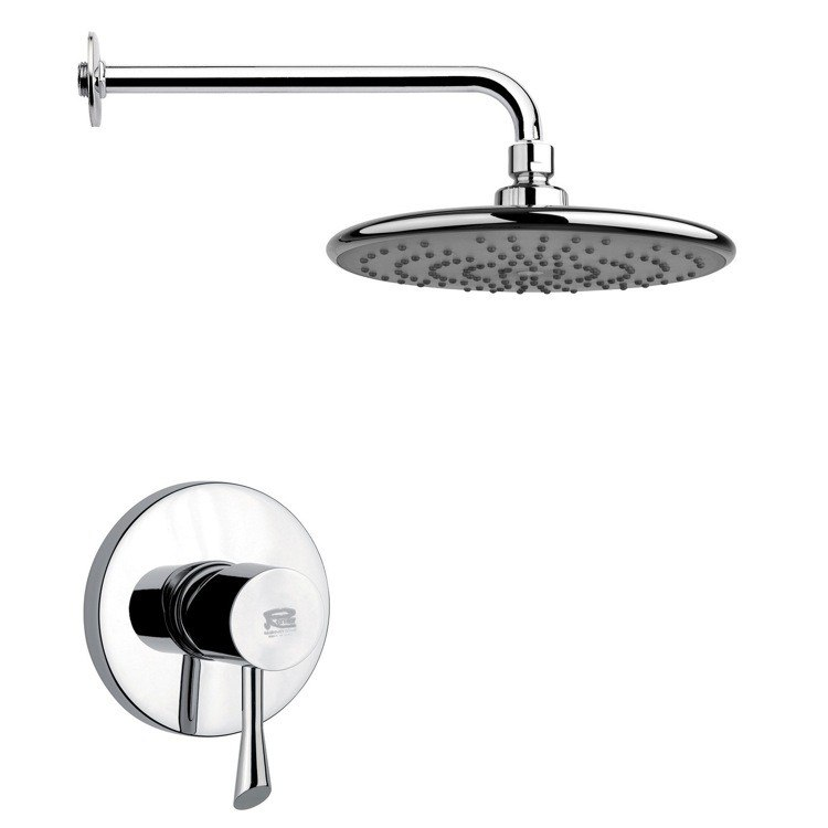 REMER SS1232 MARIO ROUND MODERN SHOWER FAUCET SET IN POLISHED CHROME