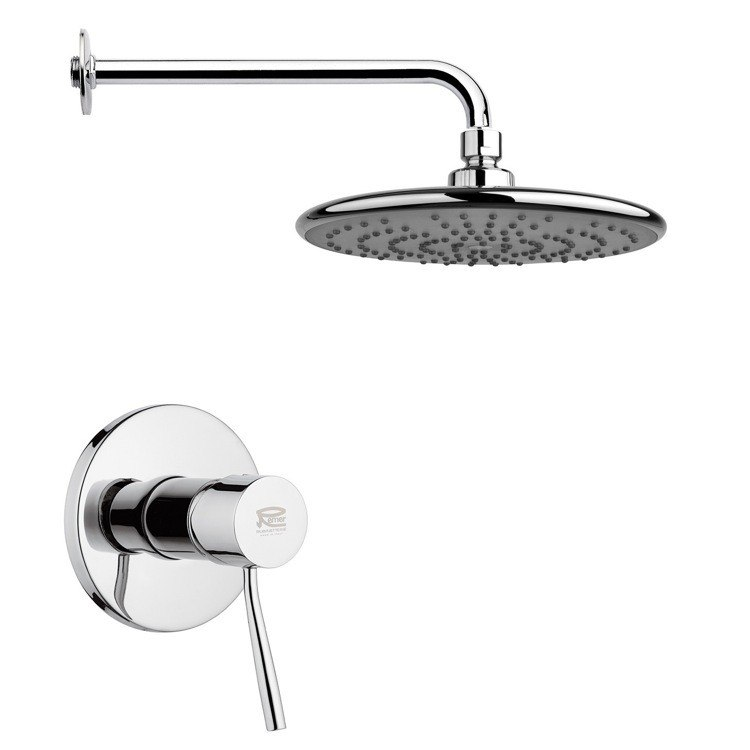 REMER SS1233 MARIO ROUND MODERN SHOWER FAUCET SET IN POLISHED CHROME