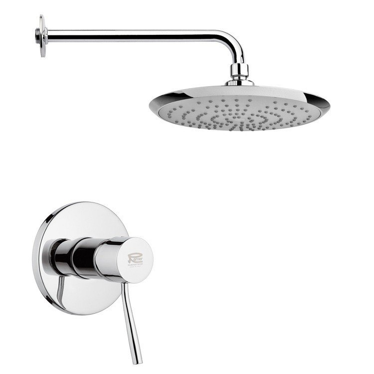 REMER SS1234 MARIO ROUND MODERN SHOWER FAUCET SET IN POLISHED CHROME