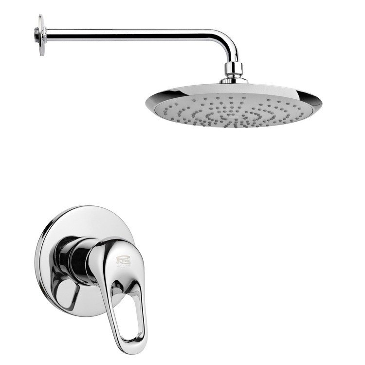 REMER SS1235 MARIO ROUND MODERN SHOWER FAUCET SET IN POLISHED CHROME