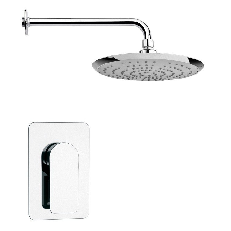 REMER SS1236 MARIO ROUND MODERN SHOWER FAUCET SET IN POLISHED CHROME