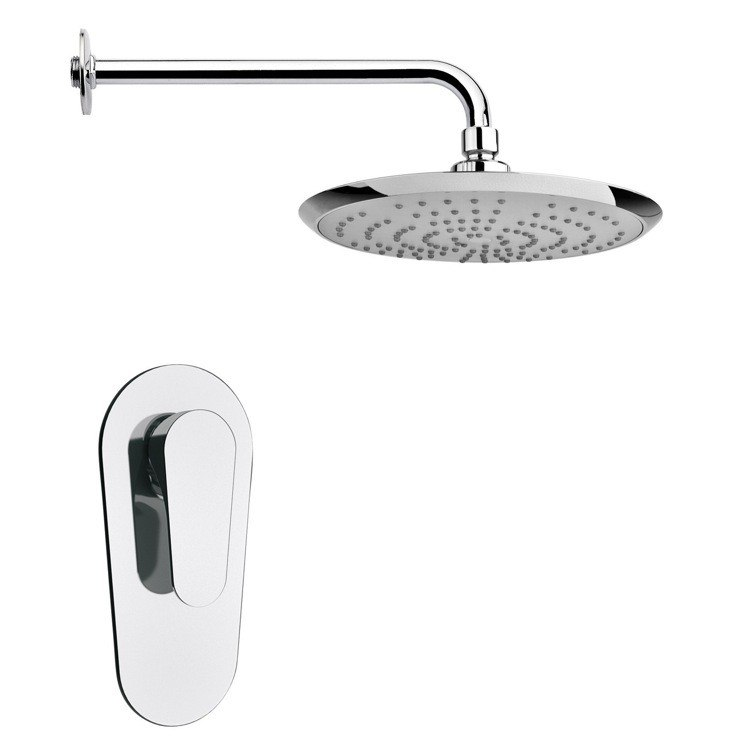 REMER SS1237 MARIO ROUND MODERN SHOWER FAUCET SET IN POLISHED CHROME