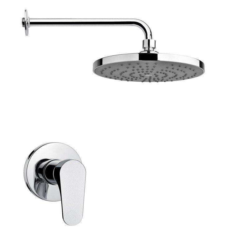 REMER SS1238 MARIO ROUND MODERN SHOWER FAUCET SET IN POLISHED CHROME