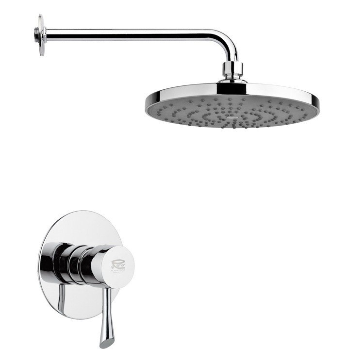 REMER SS1240 MARIO ROUND MODERN SHOWER FAUCET SET IN POLISHED CHROME