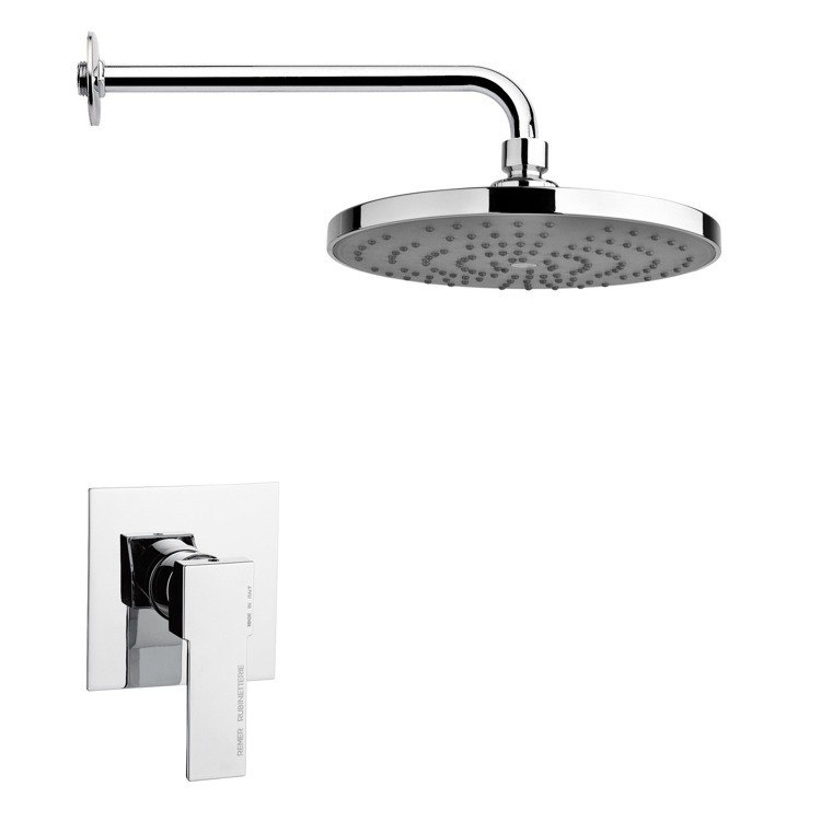 REMER SS1241 MARIO POLISHED CHROME SHOWER FAUCET SET WITH SINGLE LEVER
