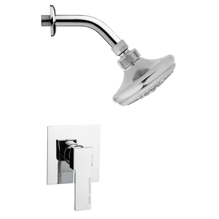 REMER SS1244 MARIO POLISHED CHROME SHOWER FAUCET SET WITH SINGLE LEVER