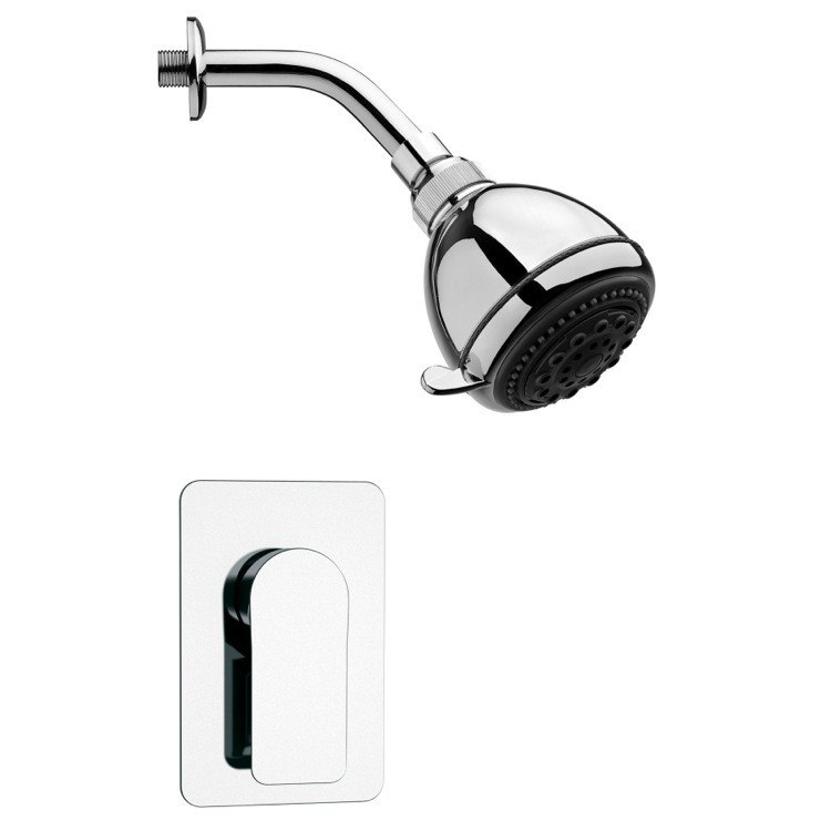 REMER SS1249 MARIO POLISHED CHROME SHOWER FAUCET SET WITH SINGLE LEVER