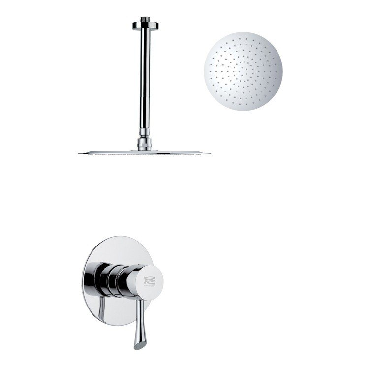 REMER SS1265 MARIO ROUND AND MODERN POLISHED CHROME SHOWER FAUCET SET